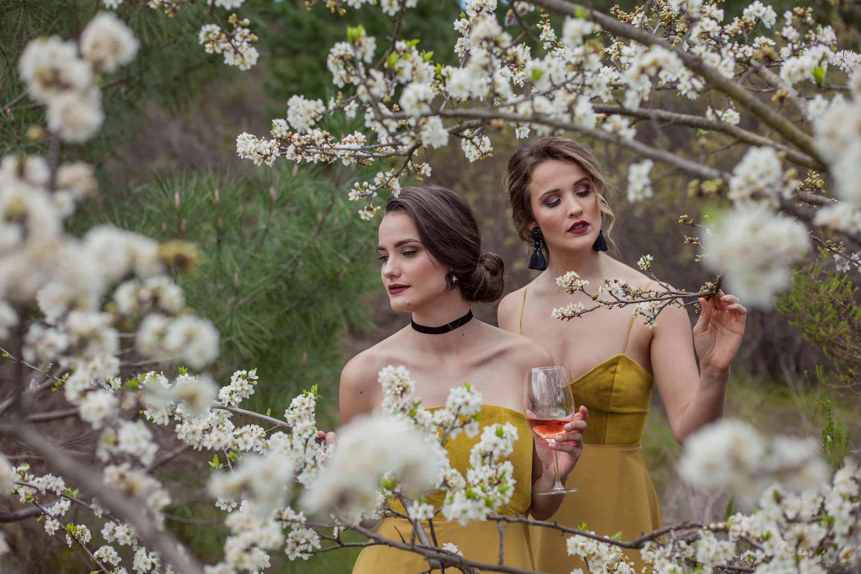 Stunning bridesmaids walking through nature at Faraway Estate 001
