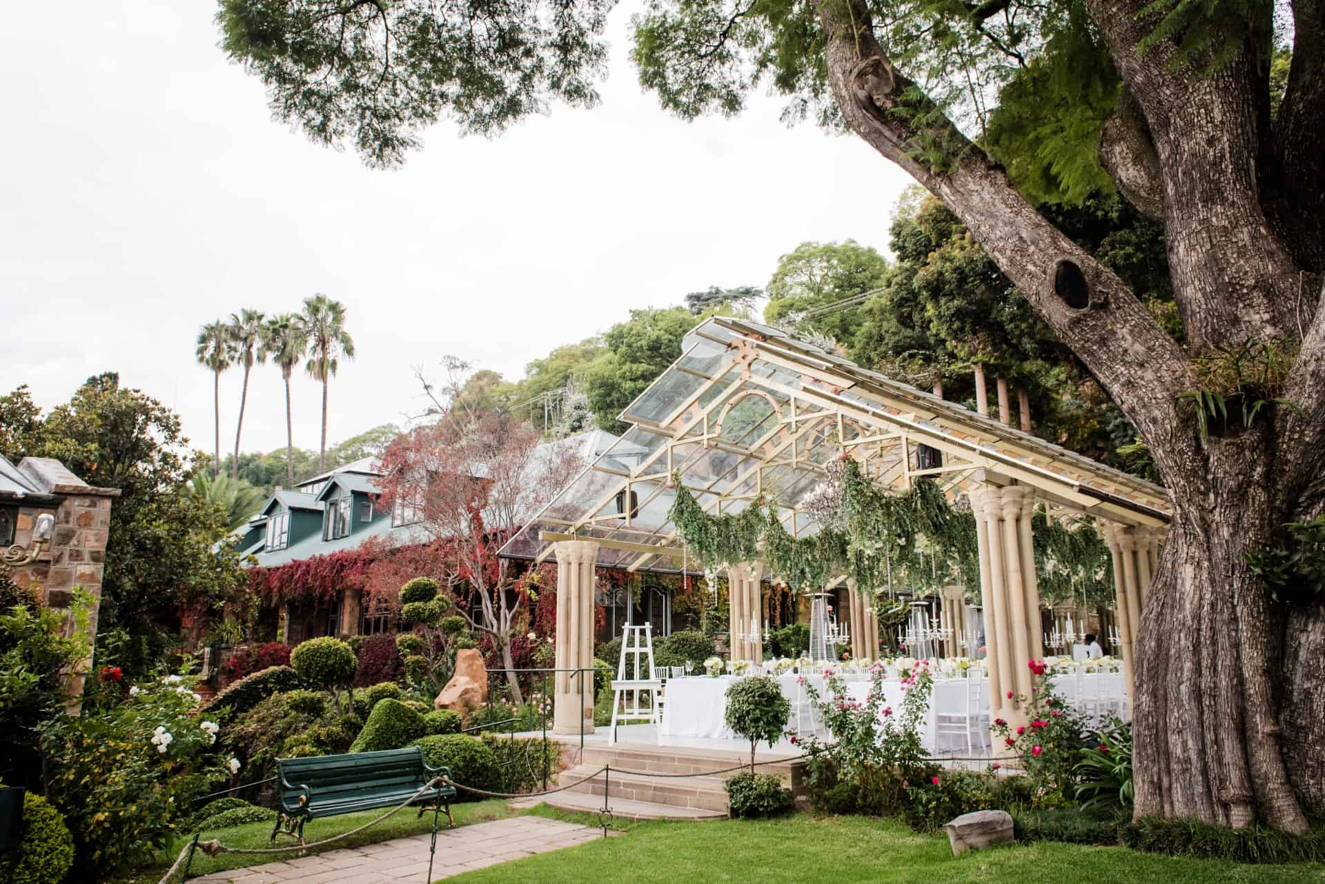 Stunning exterior of Shepstone Gardens and the magnificent glass marquee 001
